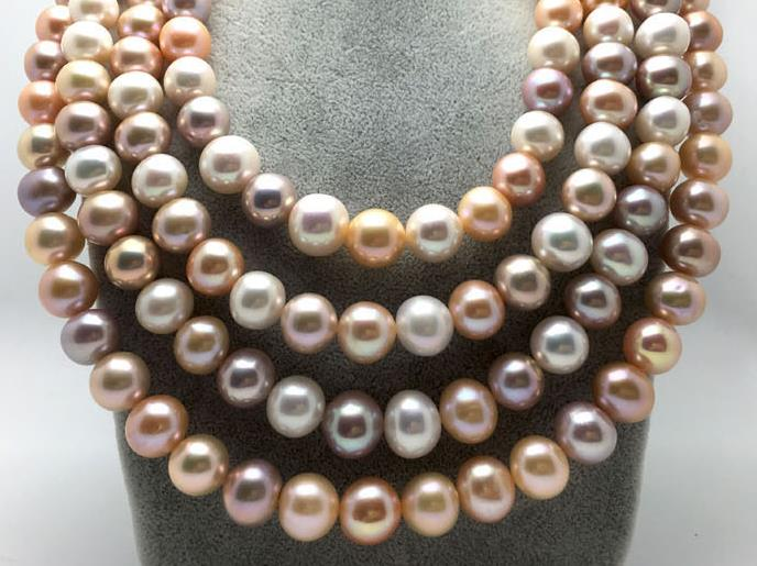9-10mm freshwater round multicolor pearl necklace 50inch 925silver9-10mm freshwater round multicolor pearl necklace 50inch 925silver