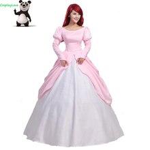 Маскарадное розовое платье принцессы «Русалочка Ариэль», маскарадный костюм для Хеллоуина, рождественской вечеринки