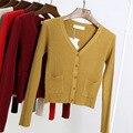 Suéter Cardigans de cachemira de Las Mujeres 2017 de la Señora Bolsillos Primavera Otoño Suéter Tejido Jumper Sexy Mujeres Con Cuello En V Suéter Tops Coat 1148