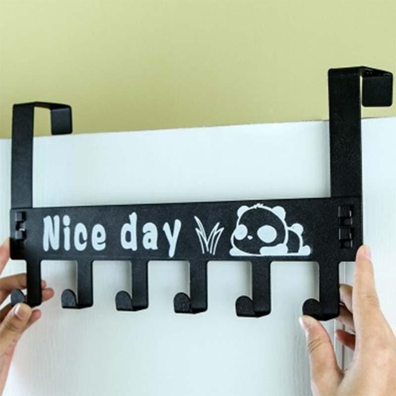 6-Hook Bathroom Organizer Hanger Titanium Steel Home Kitchen Hooks Over Door Hanging Storage Rack Holder P7Ding