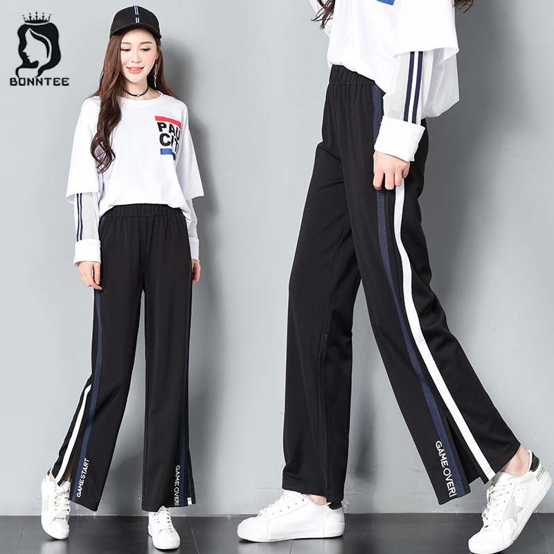 Casual Loose   Wide     Leg     Pants   Korean Style School Students Stretchy Trousers Womens Embroidery Letter Designed   Pant   Women Trendy