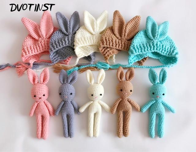 Baby Fotografie Requisiten Hut Kaninchen Puppen Häkeln Strick