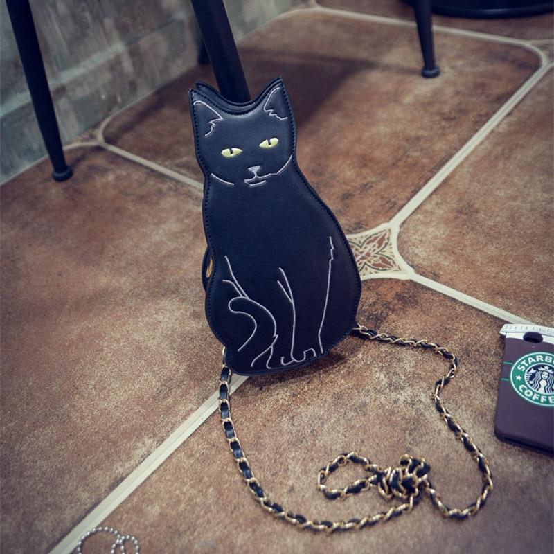 BLACK CAT NOVELTY CROSSBODY CHAIN BAG - Womens Girl 2016 Street Fashion Animal Kitten Cute Cool Unique Fun Cross Body Purse Bag