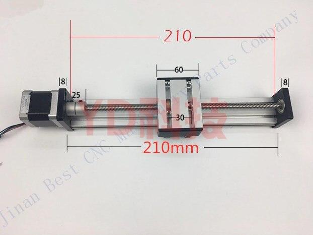 Longueur de glissière personnalisée 210mm CNC ST T8 * 4 vis à billes Table coulissante + 1 pc nema 23 moteur pas à pas axe XYZ mouvement linéaire