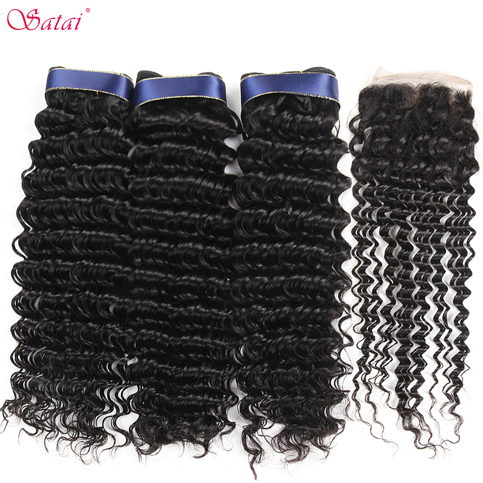Satai Brazilian Deep Wave 3 Bundles With Closure 100% Human Hair Bundles With Closure Natural Color Remy Hair Extension