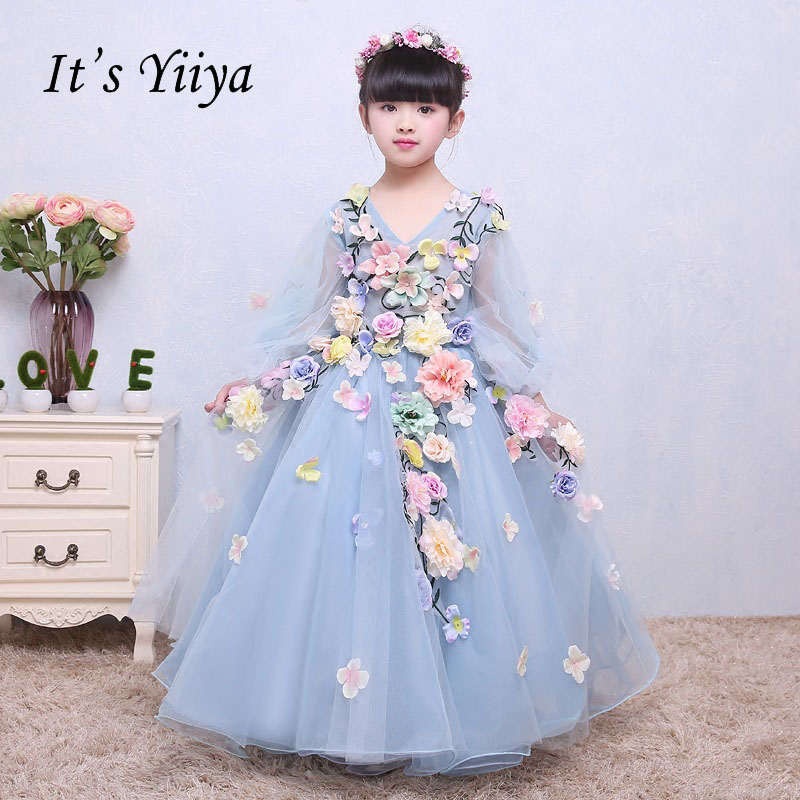 It's yiiya Lace Up Quality Illusion Puff Sleeves Kid   Flower   Child Cloth   Flower     Girl     Dresses   For Party Wedding   Girl     Dress   S100