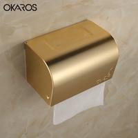OKAROS Golden Space Aluminum Paper Box Toilet Paper Roll Tissue Holder Paper Towel Rack Phone Shelf Bathroom Accessories