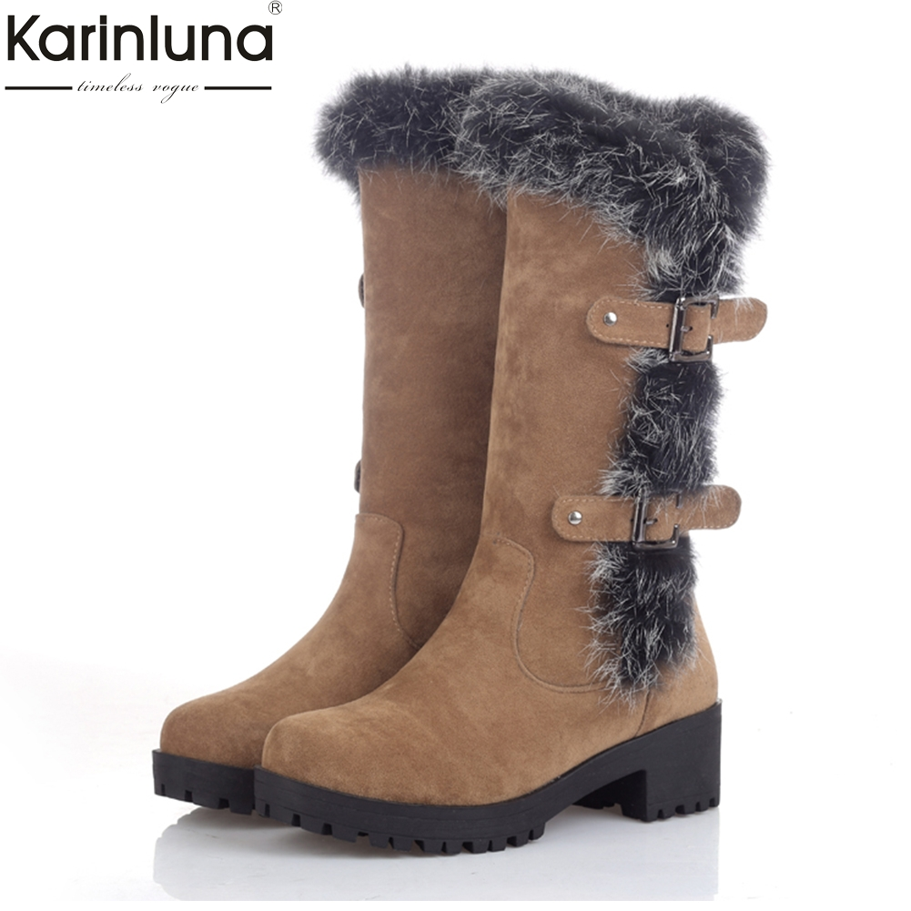 KARINLUNA 2018 Large Size 34-43 Snow Boots Woman Real Fur Shoes Women Boots Add Plush Warm Winter Mid Calf Boots Woman Shoes plus size 34 47 new autumn winter plush women boots mid calf snow boots woman keep warm mother botas butterfly flats roman shoes