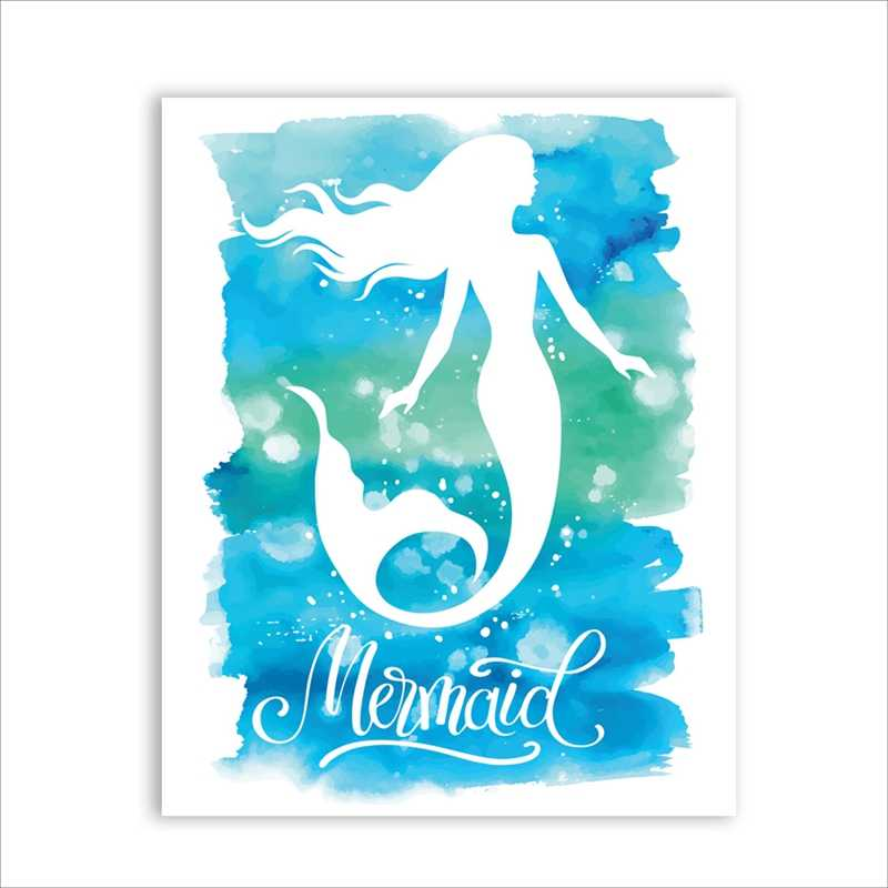 Watercolor Mermaid Wall Art Print And Poster , Hand Drawn Classical Character Mermaid Canvas Painting Pictures Wall Decor