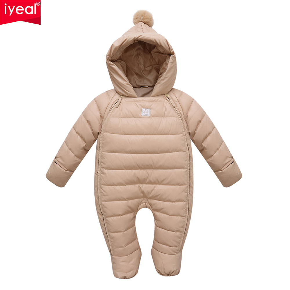 ФОТО New Brand Baby White Duck Down Jumpsuits Winter Boys Clothing Newborn Snowsuit Infant Girls Warm Coat Overalls for 0-2 Years