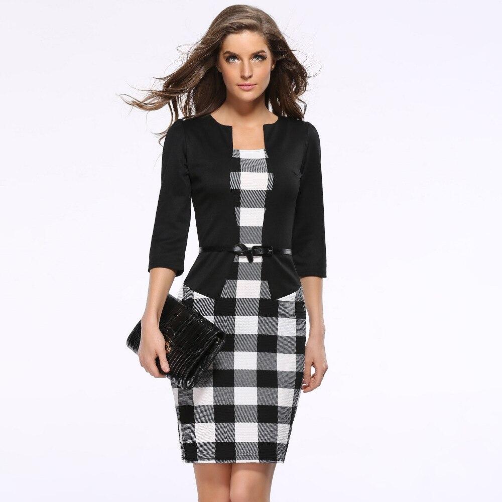 Free shipping 2016 new European leg sleeve plaid dress fake two package hip wear pencil send belt