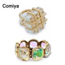 Comiya square transparent stones women finger rings steampunk Indian Jewelry Elastic Rhinestone Bangles for women bijoux set
