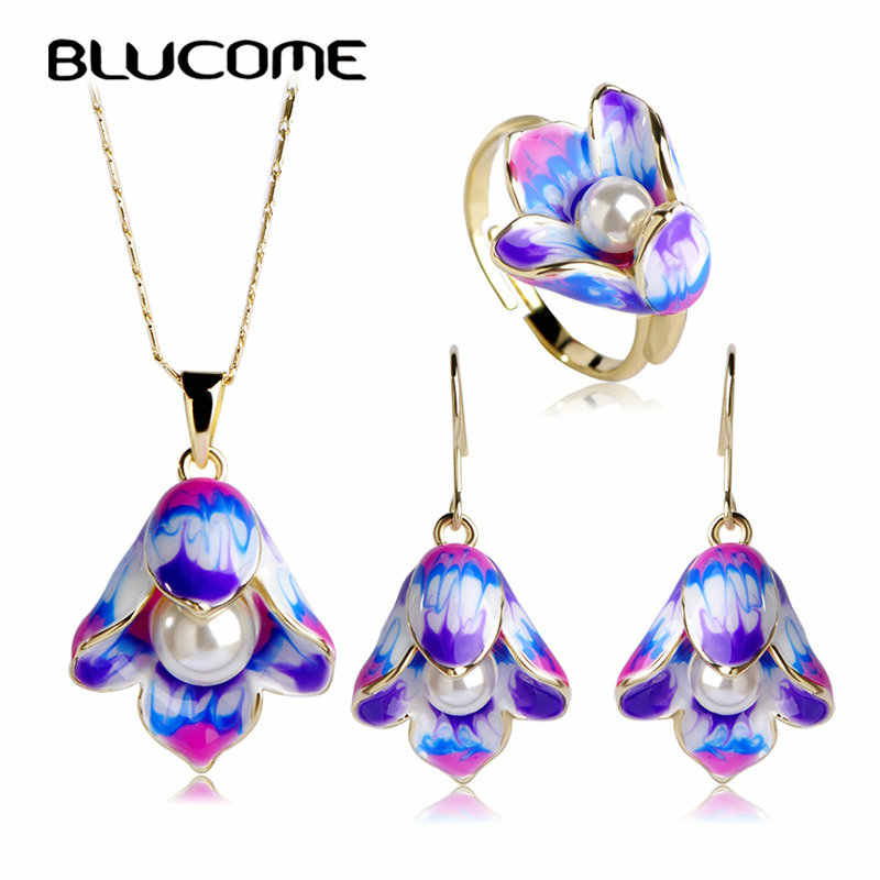 Blucome Enamel Epoxy Esmaltes Simulated Pearl Bijuterias Dubai Jewelry Sets Hooks Earrings Anel Brincos Colares Pendants Ring