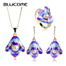 Blucome Enamel Epoxy Esmaltes Simulated Pearl Bijuterias Dubai Jewelry Sets Hooks Earrings Anel Brincos Colares Pendants Ring(China)