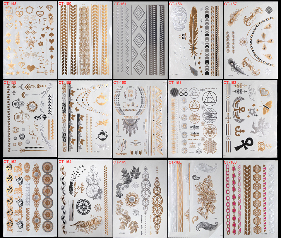 52pcs/lot Waterproof Flash Tattoo Non toxic Temporary Tattoo Sticker Take These Metallic And Gold Jewelry Tattoos