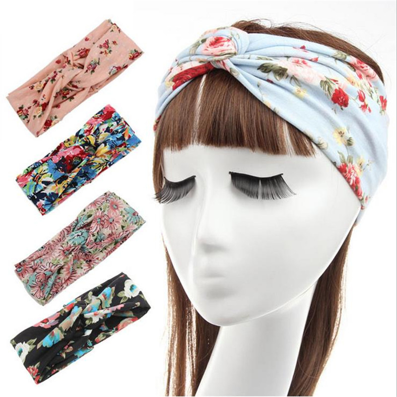 9 colors Fashion Retro Women Elastic Turban Twisted Knotted Headband Ethnic Floral Wide Stretch Girl Yoga