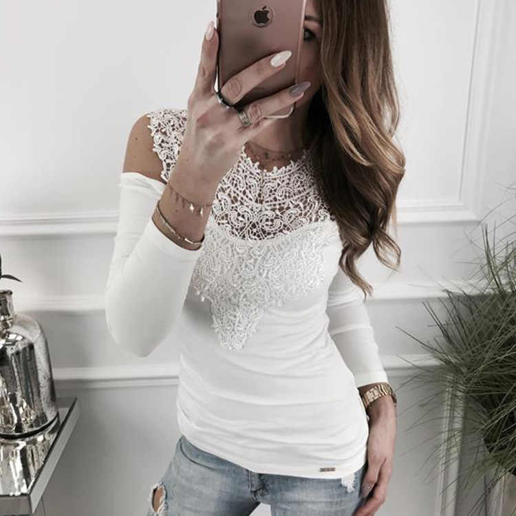 Tumblr Real Polyester Kpop Korean Women's Free Shipping 2019 Fall/winter Style Sexy Lace Stitching Off Shoulder T-shirt Top