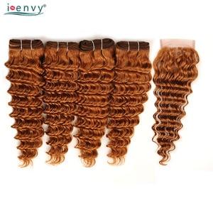 Image 5 - Золотой Блонд #30 глубокая волна пучки с закрытием цветные человеческие волосы ткет пучки бразильских локонов 4 пучка с закрытием не Реми