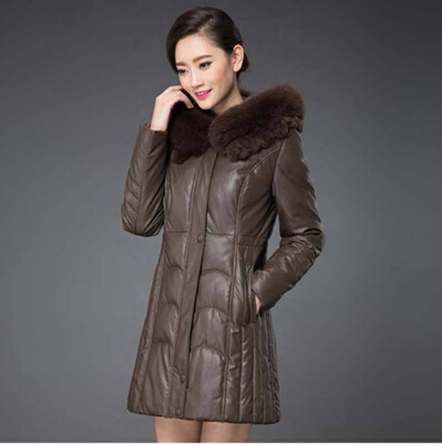 Cheap new 2016 winter warm big Fur collar long down cotton jacket middle-aged women Hooded plus size 7XL leather Cotton Coat FLM604