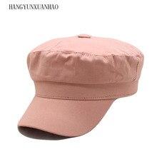 Military Hats Spring Fashion 2019 Womens Vintage Flat Top Black Beret Army Cap Octagonal Sailor Hat