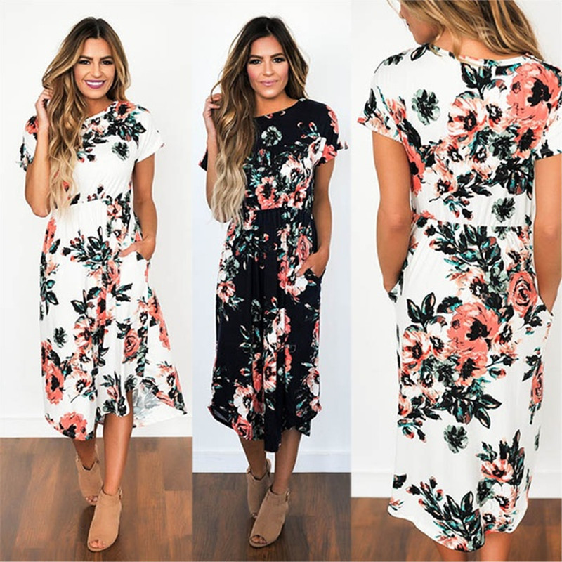 2018 Summer Long <font><b>Dress</b></font> Floral Print Boho Beach <font><b>Dress</b></font> Tunic Maxi <font><b>Dress</b></font> Women Evening Party <font><b>Dress</b></font> Sundress Vestidos de festa XXXL image