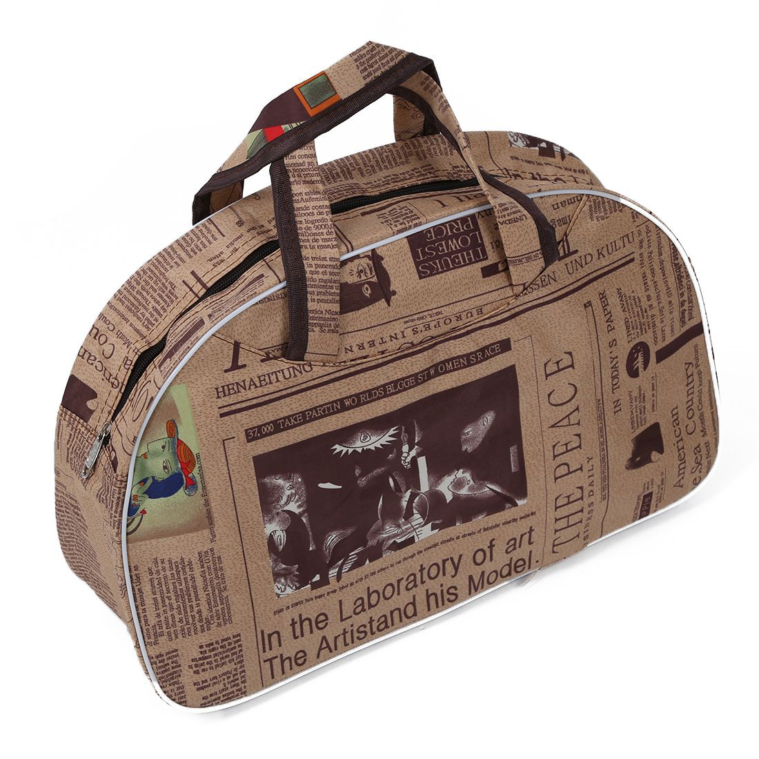 Fashion Waterproof Oxford Women bag Newspaper Pattern Travel Bag Large Hand Canvas Luggage Bags japanese pouch small hand carry green canvas heat preservation lunch box bag for men and women shopping mama bag