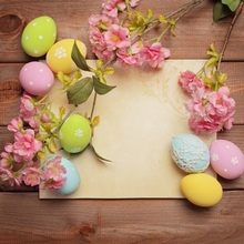 Laeacco Flowers Wooden Boards Colorful Eggs Easter Photography Backgrounds Customized Photographic Backdrops For Photo Studio