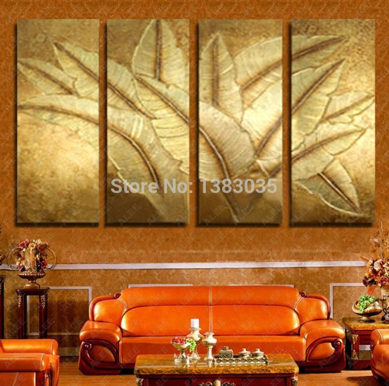 Hand Painted Gold Japanese Banana Leaf Oil Painting Modern Abstract ...