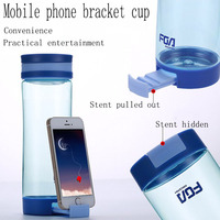 Mobile Phone Bracket Cup Gourde En Plastique Sport Shaker Bottle BPA Free Multifuction Usage With Round