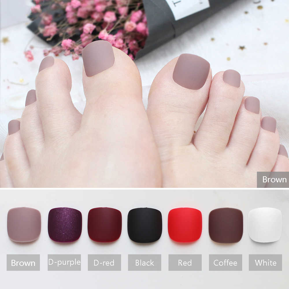Brown Matte fake toenails Black toes simple short Nude color Solid color Red modern burgundy Soft scrub Naturally realistic