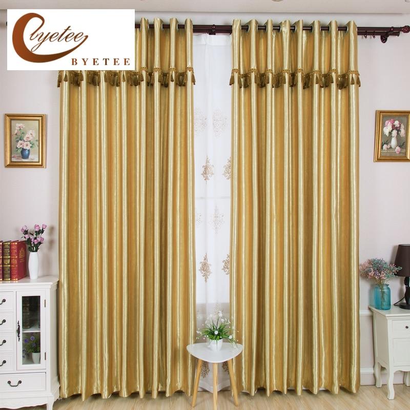 {Byetee} Gold Blackout Einfarbig Fenster Vorhang Für Schlafzimmer  Wohnzimmer Vorhänge Vorhänge Fenster Stoffe Cortinas