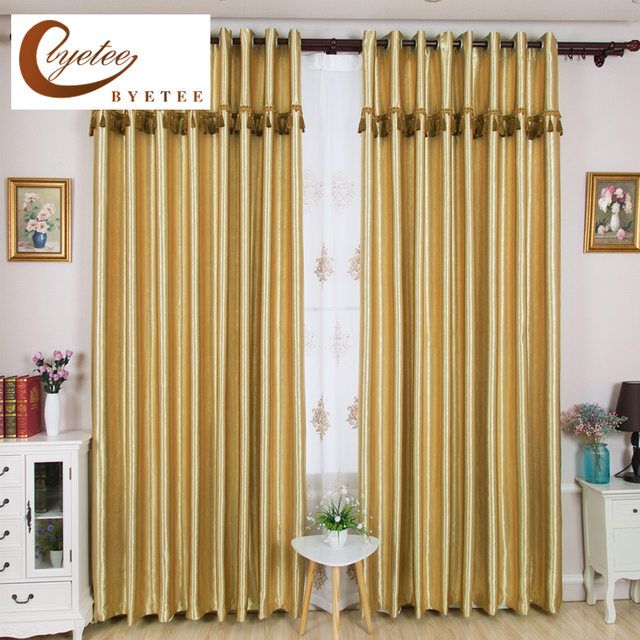 {Byetee} Gold Blackout Solid Color Window Curtain For Bedroom Living Room Drapes  Curtains Window