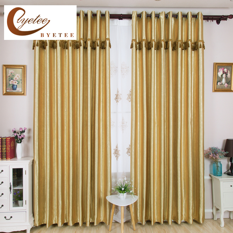 {byetee} Gold Blackout Solid Color Window Curtain For