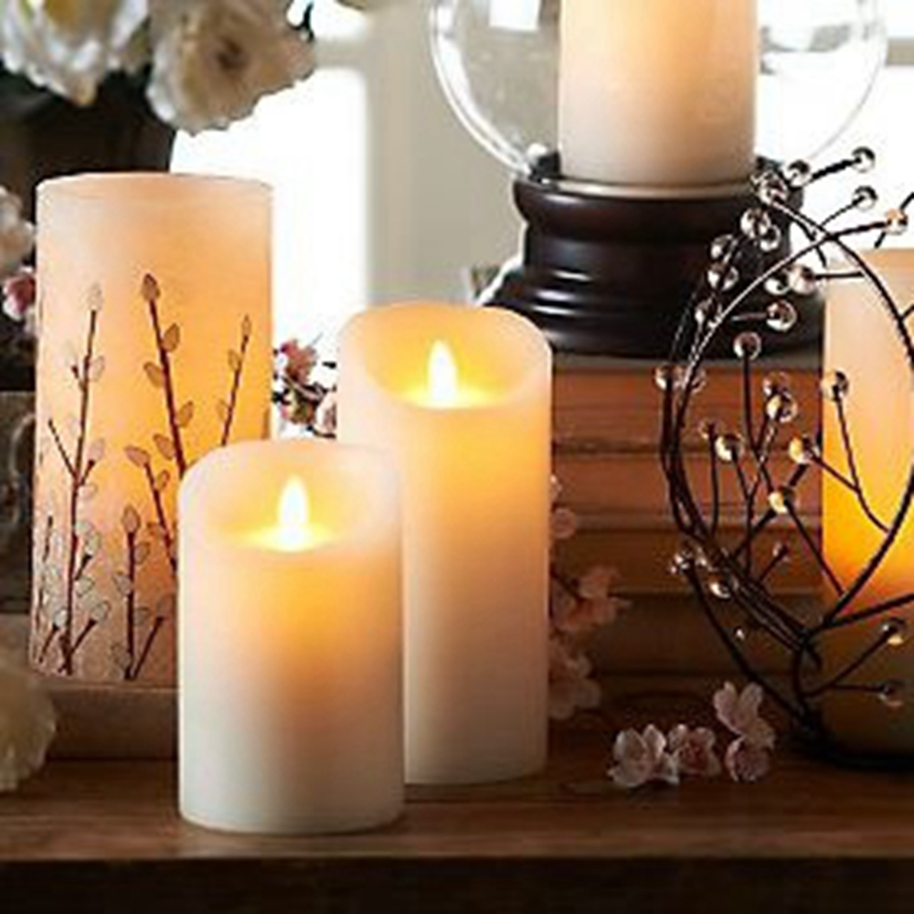Ksperway Set Of Led Moving Flame Real Wax Pillar Candles Ivory White Candle With Realistic Flicker And Circuit Board Style 357 359 Inch In Holiday Lighting From Lights On