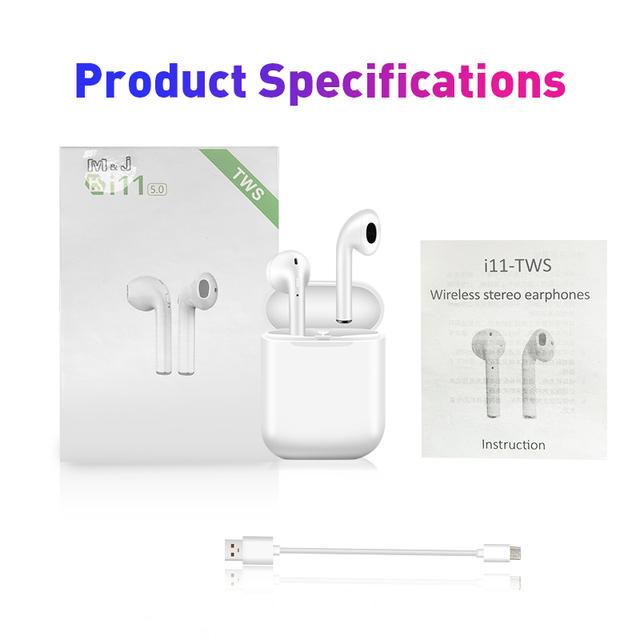 i11 tws Wireless Earphone Bluetooth 5.0 Headphone air I7S TWS ear Mini Earbuds Headset for iPhone Samsung Xiaomi Huawei LG pod