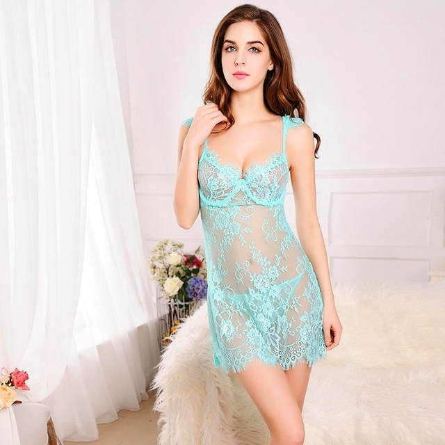 Sexy Babydoll Chemise Sexy Costumes.  2016 Sexy Lingerie Hot 3 Color Perspective Backless Sling Lace Erotic Lingerie+thongs S-L