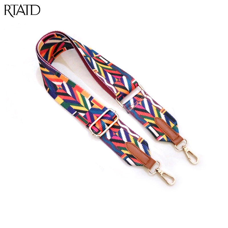 RTATD New Handbags Strap Woven Design National Gold Buckle Canvas Bag Straps Trendy Easy Holding Shoulder Straps B290
