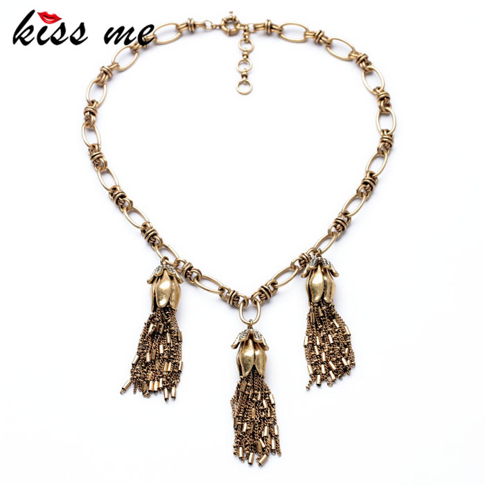 New Styles Statement Fashion Elegant  Antique Gold Color Tassel Pendant  Luxury Banquet Necklaces &Pendant 2017