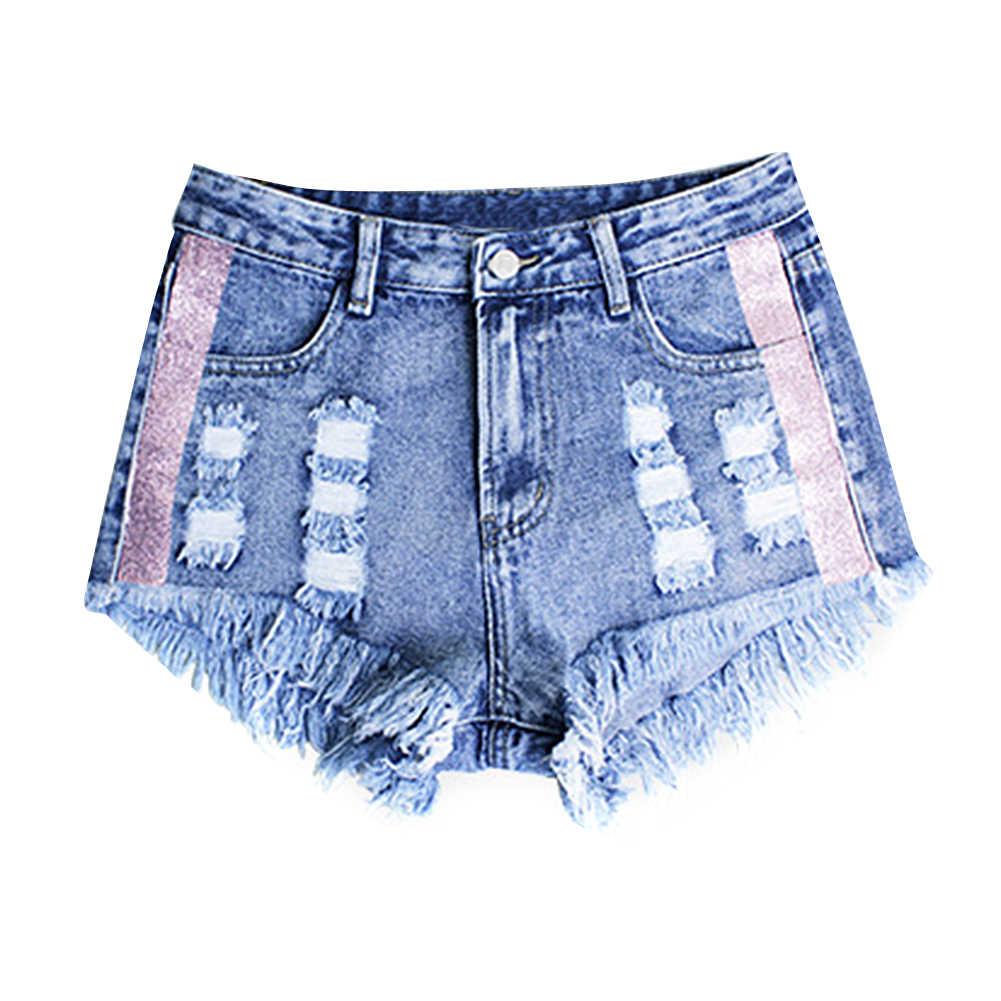 Новые модные женские джинсовые шорты с потертостями рваные бахрома подол высокая талия Боковые блестки повседневные джинсы шорты женские светло-голубые
