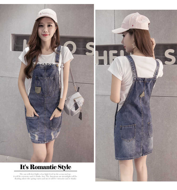 a5e282b6162 ... Plus Size summer Jeans Dress Women Washed sleeveless Suspender Denim  Dress Sundress Denim Mini Dress Female