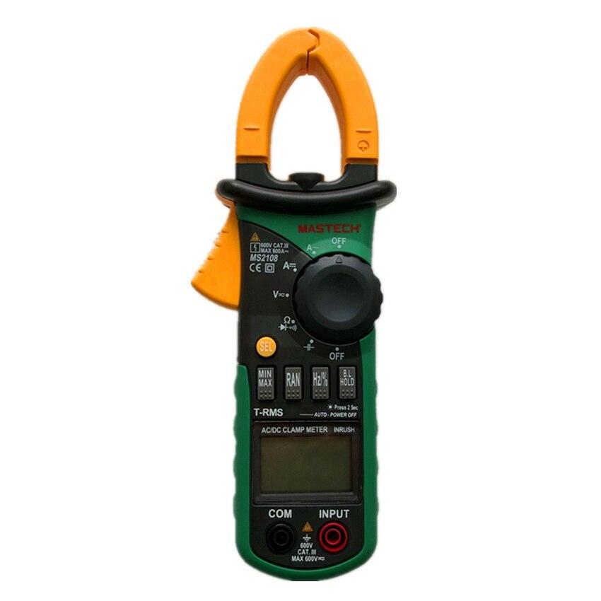 Mastech MS2108 Digital Clamp Meter True RMS LCD Multimeter AC DC Voltmeter Ammeter Ohm Herz Duty