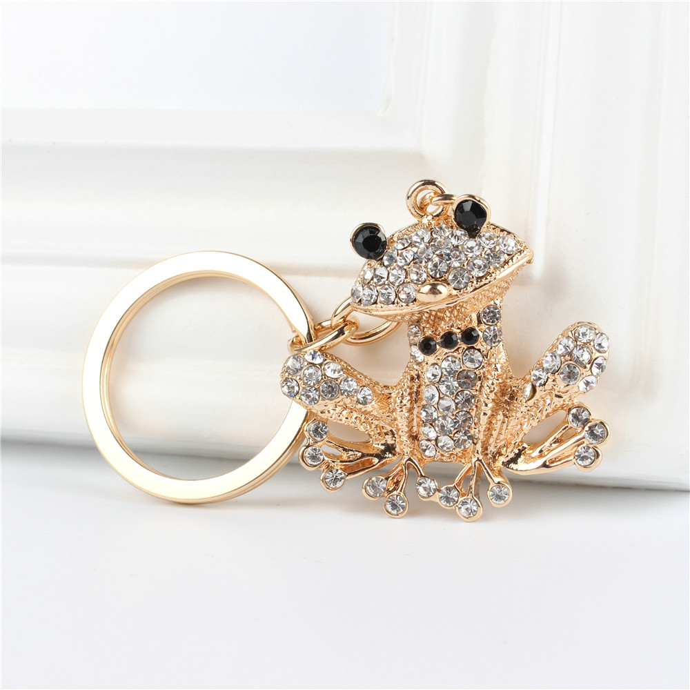 Lovely Frog Pendant Charm Rhinestone Crystal Purse Bag Keyring Key Chain Accessories Wedding Party Lover Friend Gift