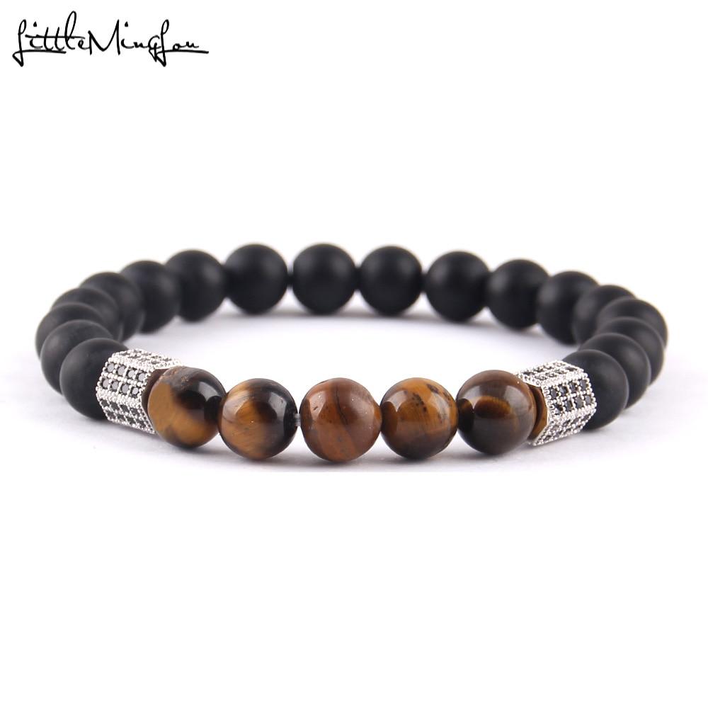 WML Cubic zirconia Rhombic column charm Men Bracelet 8MM Tiger Eye Stone Beads bracelet bangles For men Jewelry in Charm Bracelets from Jewelry Accessories