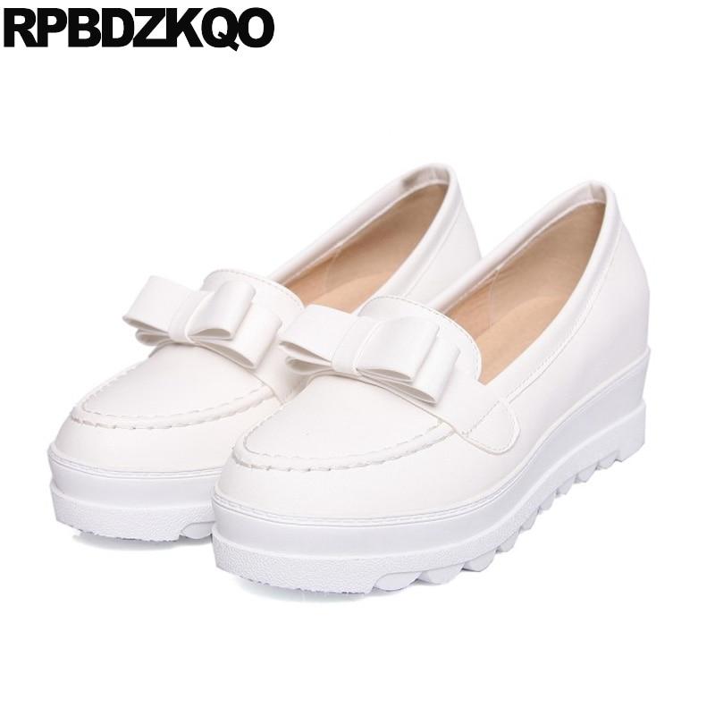 Envío 10 Japonés De Zapatos Pisos blanco 2017 Ronda Ascensor Señoras Plataforma Primavera Beige Gota Blanco Hermosos La On rosado Slip Mujeres Toe Personalizado Arco z88WTqwf
