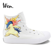 Wen Design Anime Pokemon Go Typhlosion Hand Painted Shoes High Top Women Men's Canvas Sneaker Casual Plimsolls Students