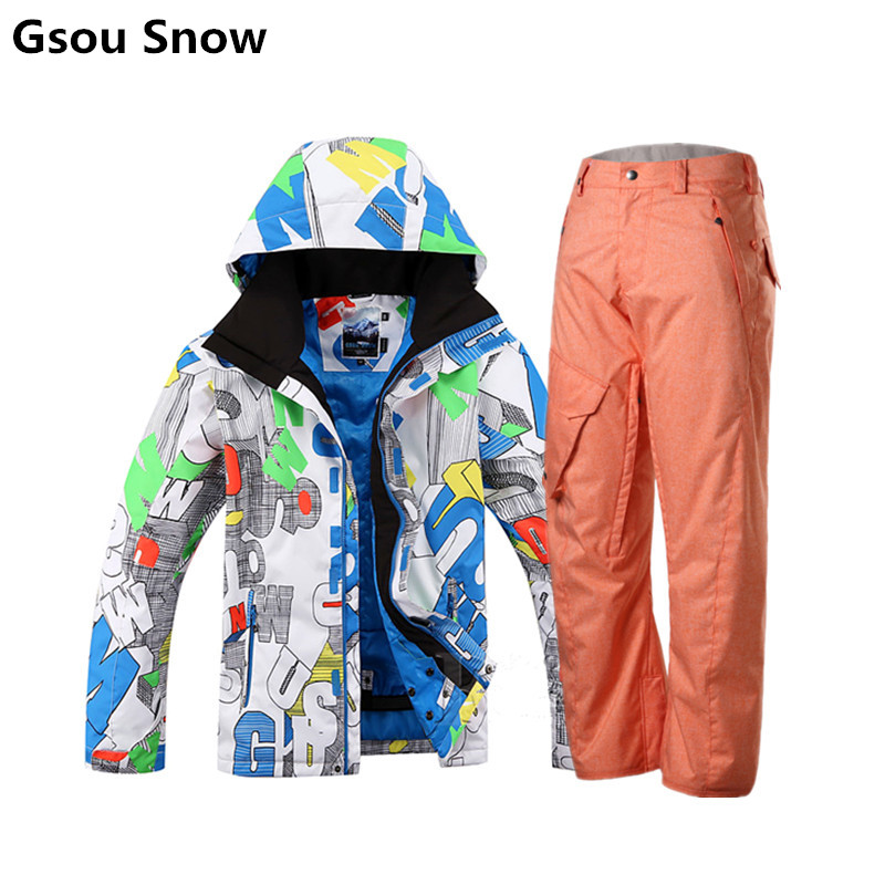 GSOU SNOW original winter mens waterproof ski and snowboard suit skiing jacket men outdoor esqui traje veste ski homme brand gsou snow technology fabrics women ski suit snowboarding ski jacket women skiing jacket suit jaquetas feminina girls ski
