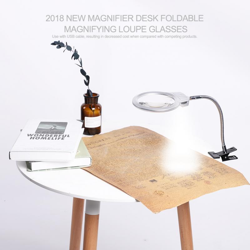 2.5X Magnifier Desk  Foldable Magnifying Loupe Glasses Lighted Magnifier Desk Tattoo Nail  with Clamp Stand