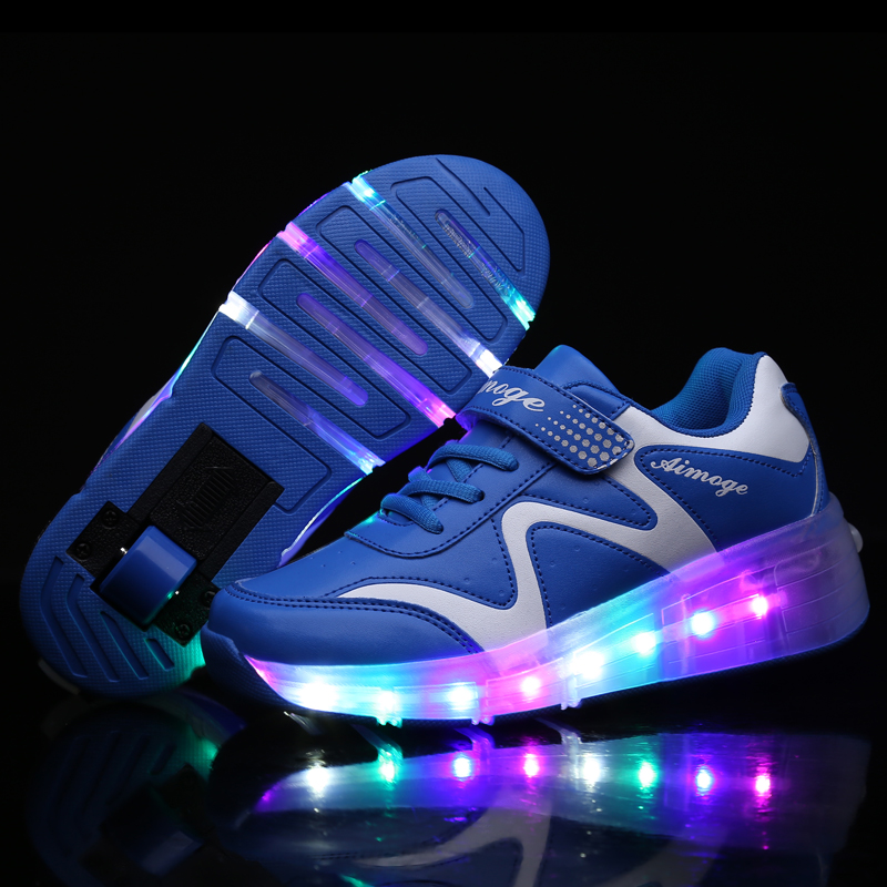 Heelys Wheel Glowing Sneakers LED Flashing Single Roller Skate Shoes Boys Girls Toddler Flashing Board Breathable Roller Skates
