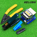 KELUSHI FTTH Fiber Optic Tools set kits FC-6S Cleaver and Double hole CFS-2 fiber pliers fiber optical cable stripping strip