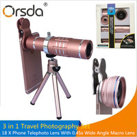 Orsda 18x Telescope Camera Zoom Optical Cellphone Telephoto Lens For Iphone 8 7 6 Samsung With HD 0.45x Super Wide Angle Lentes